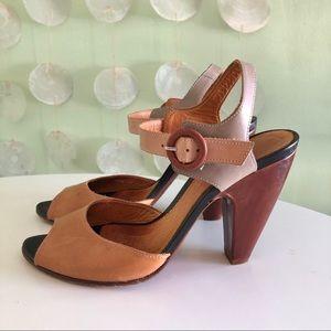 Chie Mihara Mod Colorblock Peep Toe Heels Sandals
